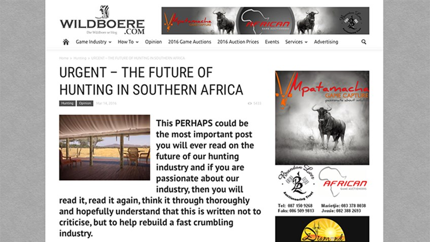 South African Blog Post Urges Nation's Hunting Community to Put Its Best Foot Forward Through Social Media