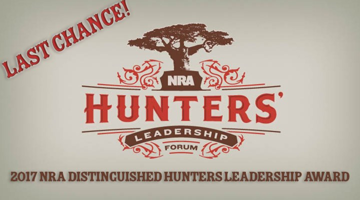 Nominations for NRA Hunters Leadership Award Due Jan. 31!