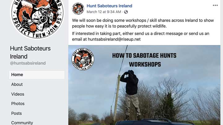 Hunt Saboteurs Ireland is hosting roving workshops to train people on how to disrupt legal and regulated hunting. They are being arrested for trespassing.