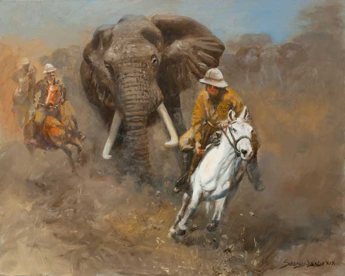 """Charge of the Elephant"" is a thrilling John Seerey-Lester painting, one of many depicting Teddy Roosevelt on safari in 1909. (Courtesy of www.Seerey-Lester.com.)"