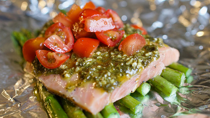 Campfire Salmon with Pesto and Veggies