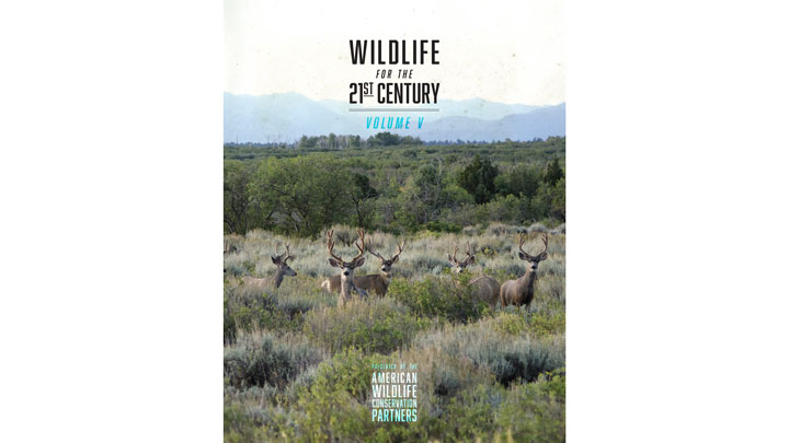 "mule deer in the American West grace the cover of American Wildlife Conservation Partners' ""Wildlife for the 21st Century: Volume V"""